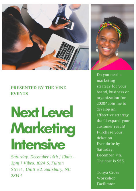 Next Level Marketing Intensive, The Vine Events, Salisbury NC